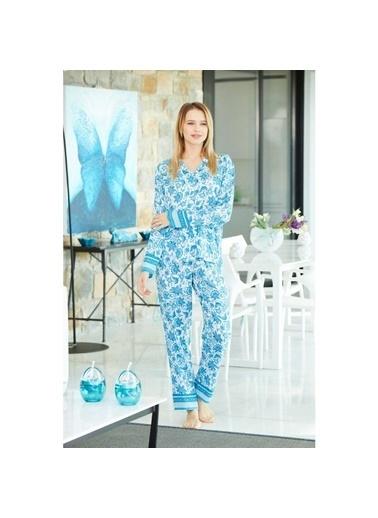 Pierre Cardin Pierre Cardin Kadın Gömlek Pijama Takımı Turkuaz